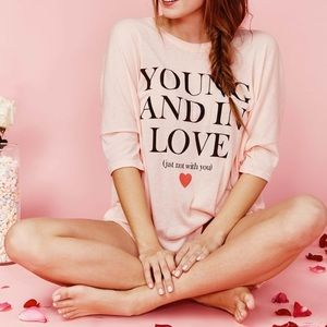 Wildfox Young and In Love Oversized T Shirt
